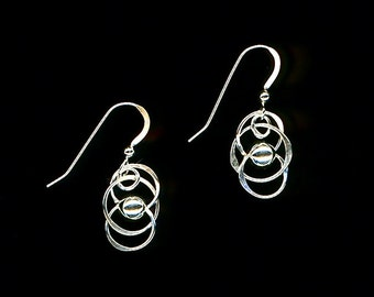 Circle Silver Beaded Wire Earrings Sterling Silver Chain Link Circles Beads Wire Jewelry Gift Women