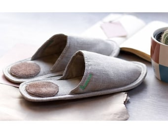 Women slippers, linen slippers for women, gift slippers, light slippers, closed toe slippers, gray slippers for women, women's house shoes