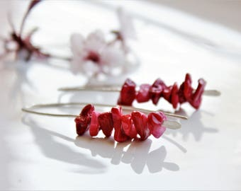 Red Bamboo Coral Earrings, Sterling Silver, bright red natural gemstone threader earrings, hand-forged artisan earrings,holiday gift for her
