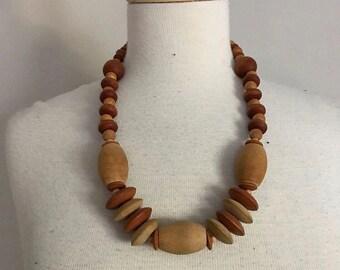 Vintage Boho Wooden Bead Necklace