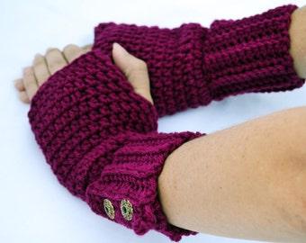 Boysenberry fingerless gloves, arm warmers, wrist warmers, crochet arm warmers, crochet gloves, texting gloves, mittens, festival gloves