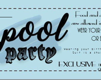 Pool Party Invitation - *Printable