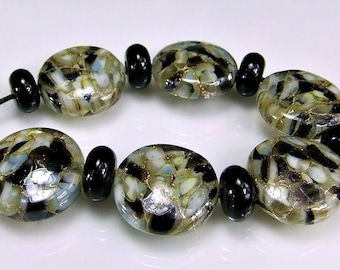 Black Grey Silver Lampwork Bead Set SRA Artisan Beads