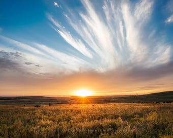 Sunset Photography Print - Fine Art Picture of Incredible Sunset Over Tallgrass Prairie in Northern Oklahoma Landscape Photo Plains Decor