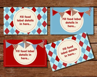 Sock Monkey Tent Cards, Food Labels, Buffet Cards, Food Tags, Labels - Instantly Downloadable File