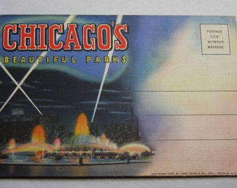 Vintage Fold Out Color Postcard- CHICAGO Beautiful Parks 1937 Travel Souvenir- Unused- Accordian Ephemera- Wrigley Field- Soldiers Field