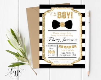 Boy Baby Shower Invitation, Boy Baby Shower Invite, Little Man Baby Shower, Bow Tie Baby Shower, Little Gentleman, Baby Boy, Black and Gold