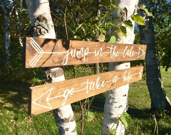 Go take a hike, go jump in the lake signs -wood signs -outdoors- rustic sign