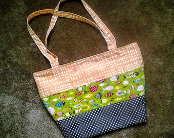 Summer Canvas Tote Bag with Fish print