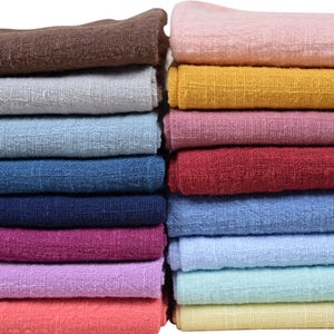 Colorful linen cotton fabric solid color linen cotton blend fabric prewashed and soft cotton fabric clothing fabric