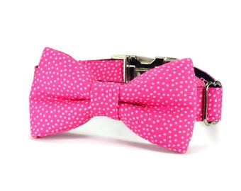 Pink Polka Dot Dog Bow Tie Collar