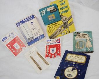 Vintage Sewing  Notions Lot 1950 Clothing Repair Items Great Graphics