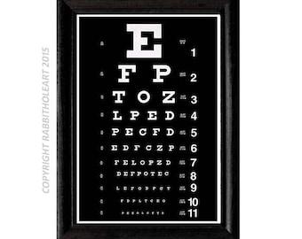 EYE CHART Exam Art Print wall decor optometry optometrist doctor typography Instant Printable Digital Download file DIY 8x10, 5x7, 4x6