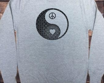 Mens Grey Sweatshirt Yin Yang- Heart CND Print SWT295