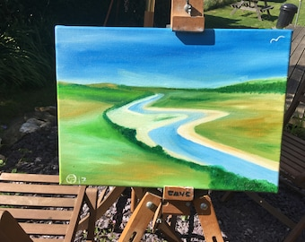 Oil painting - view from exceat up the cuckmere river