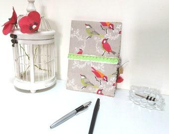 Secret book with lock / journal / artist book / notebook / travel book/fabric / booklet / birds