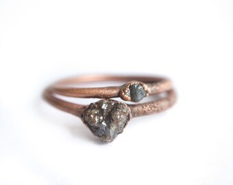 Raw diamond ring | Tiny rough diamond engagement ring | Tiny diamond ring | Conflict free diamond ring | Ethical engagement ring