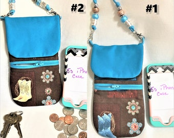 Western Boots Teal and Brown Phone Pouch, Zipper Pocket Cell Phone Pouch, Large Cross Body Cell Phone Pouch, Western Boots and Concho Print