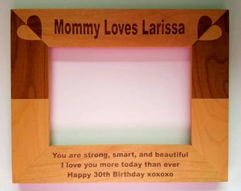 Personalized Laser Engraved alder wood picture frame Daughter From Mom Happy Birthday Gift