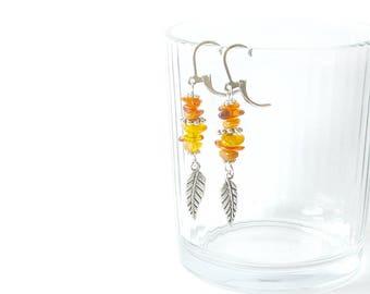Raw Amber Dangle Earrings, Baltic Amber Earrings, Gemstone Earrings, autumn fall, minimalist earrings,natural amber, honey yellow earrings