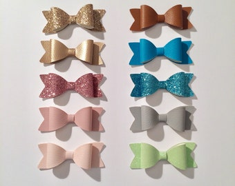 PROMO yearly 10 hair clips / clip / hair / baby / baby / gift / /paillettes bow / glitter/leatherette. French manufacturing