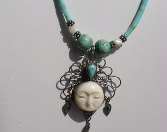 On Sale Now Vintage Goddess Turquoise Mother of Pearl Sterling Necklace