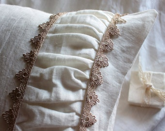 Ivory linen sham with lace - linen pillow cover-Envelope pillow cover- Ivory linen sham-Available colors and sizes #Victoria #