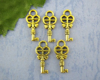 20 Key Charms - Gold Tone - 8x18mm - Ships IMMEDIATELY from California - GC41