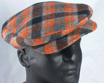 Mens Flat Cap in Orange Grey Plaid Wool | Driving Cap Touring  Cap | 1920s Wool Plaid Hat | Black Grey & Orange Retro Classic Car Driver Cap