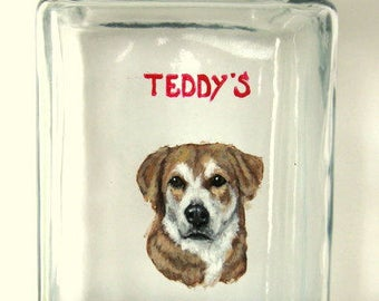 Mothers Day Gift, Dog Biscuit Jar, Pet Treat, Custom Pet Portrait Painting, Painted Glass, Personalized Pet, Custom Kitchen Canister