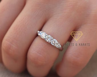 5 Stone Diamond Ring 1 Carat 14k Solid White Gold Five Stone Wedding Band Anniversary Ring Man Made Diamond Simulant Wedding Ring Band