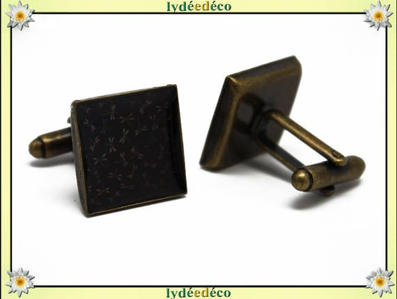 2 retro suit cuff links resin Japan blue black brown Dragonfly brass 16mm