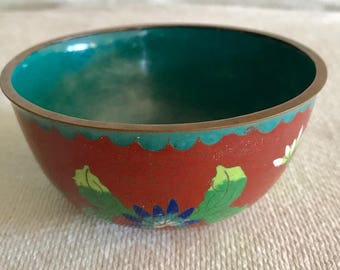 1900s Chinese Antiques Brass & Enamel Cloisonne Red Floral  Bowl