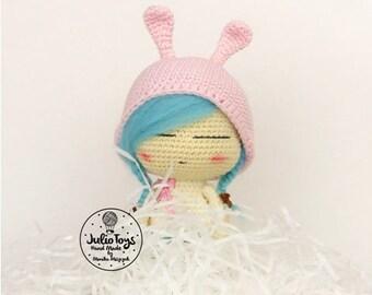 Julia with pink bunny cap