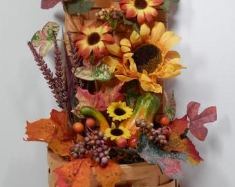"19"" Tall Fall Woven Wicker Hnger Basket Silk Sunflower Black Eyed Susan Veggies Fruit Flower Front Door Window Country Kitchen Decoration"