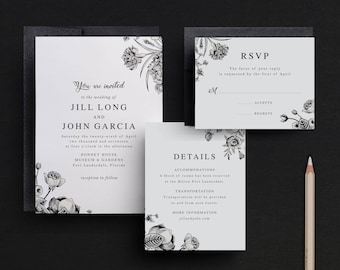 Floral Wedding Invitations, Simple Wedding Invitations, Black and White Invites, Elegant Wedding, Traditional, Formal, Black Tie, Classic