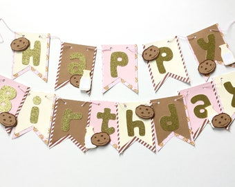 Cookies and milk birthday banner, chocolate chip cookies banner, cookies and milk theme birthday party decorations, pink, blue and brown