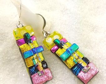 Dichroic glass jewelry, Fused dichroic glass, yellow earrings, fused glass art, artisan jewelry, jewelry handmade, rainbow earrings,dichroic