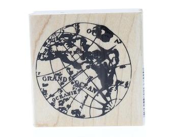 Hampton Art World Traveler Globe Sphere Earth Wooden Rubber Stamp