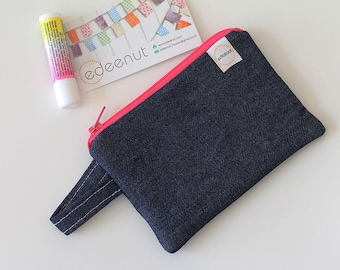 Denim pouch, Minimalist pocket wallet, Change purse, blue wallet, mini zipper pouch, earbud case, gift for mom, gift card holder, small bag