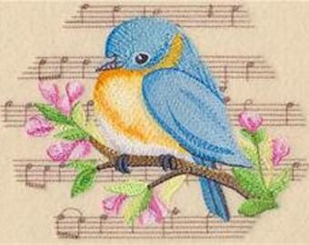 Bluebird Towel - Music Towel - Bird Towel - Flour Sack Towel - Hand Towel - Bath Towel - Fingertip Towel - Apron