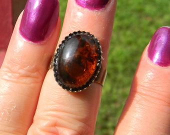 Amber, Apricot or Crystal Ball Queen's Renaissance Medieval Cabochon Gemstone Ring-  Adjustable