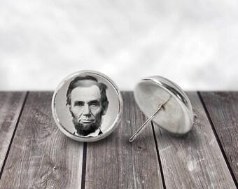 Abraham Lincoln Earrings, 12mm Stud Dangle Earrings, American Presidents, American History, Patriotic jewelry