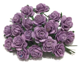 Plum Open Mulberry Paper Roses Or030