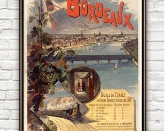 Vintage Poster Bordeaux Bordeus France , 1897