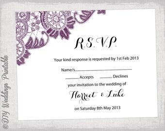 Plum Rsvp Wedding Etsy - Wedding rsvp cards template