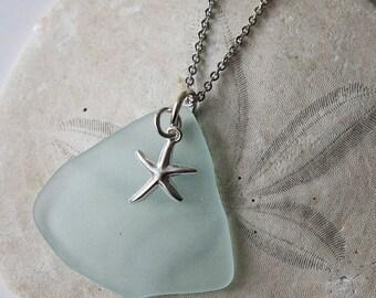 Sale 20% Rabais Sea glass pendant, Seaglass pendant, ocean pendant, blue pendant, white pendant, star fish pendant, nautical pendant, sea gl