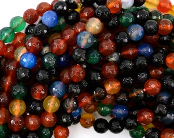 """8mm faceted agate round beads 15"""" strand multicolor 38793"""