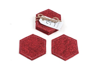 Red felt coasters, felt coaster, hexagon coasters, coaster set, geometric coasters, honeycomb coasters, Gopher