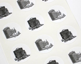 Vintage Camera Stickers One Inch Round Seals